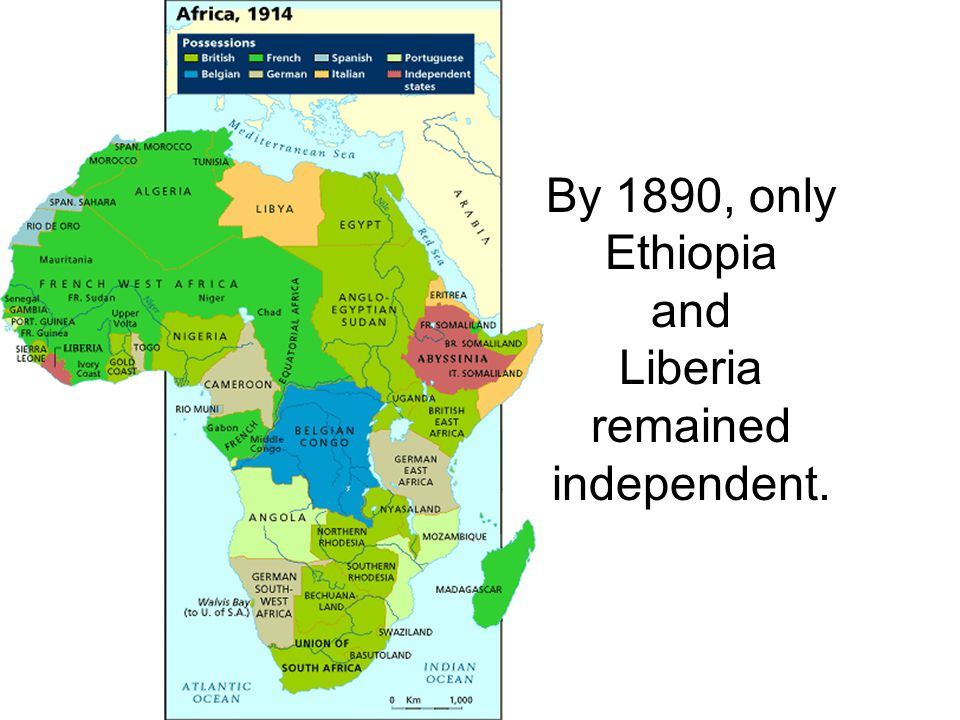 By 1890, only Ethiopia and Liberia remained independent.