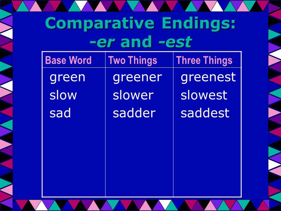 Comparative Endings: -er and -est Base WordTwo ThingsThree Things green slow sad greener slower sadder greenest slowest saddest