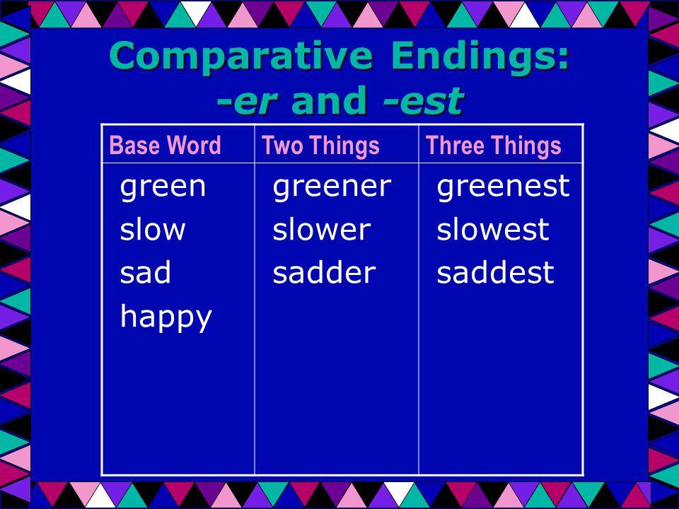 Comparative Endings: -er and -est Base WordTwo ThingsThree Things green slow sad happy greener slower sadder greenest slowest saddest