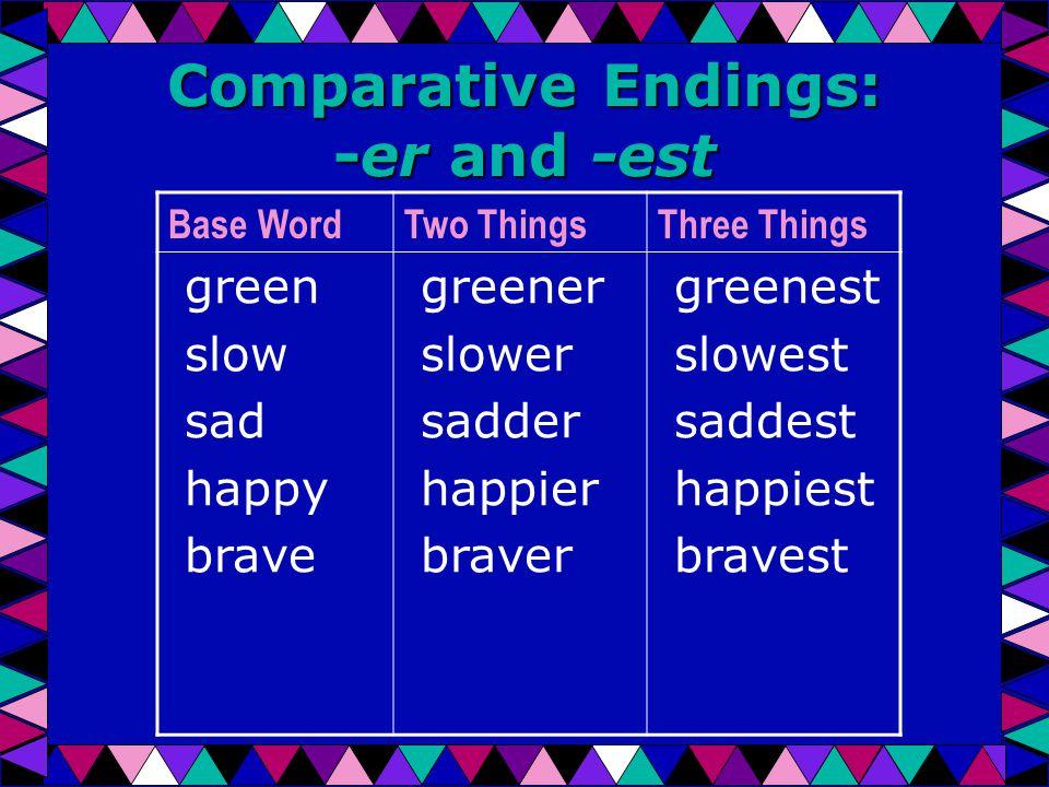 Comparative Endings: -er and -est Base WordTwo ThingsThree Things green slow sad happy brave greener slower sadder happier braver greenest slowest saddest happiest bravest