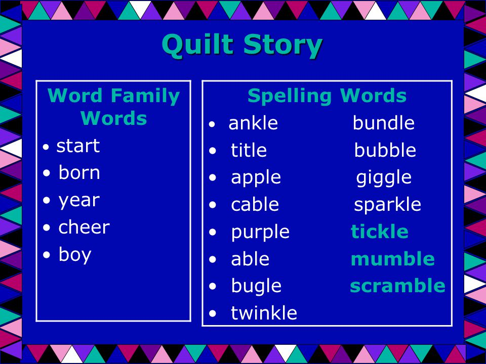 Quilt Story Word Family Words start born year cheer boy Spelling Words ankle bundle title bubble apple giggle cable sparkle purple tickle able mumble bugle scramble twinkle