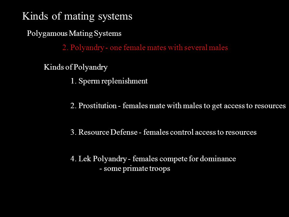 Kinds of mating systems Polygamous Mating Systems 2.