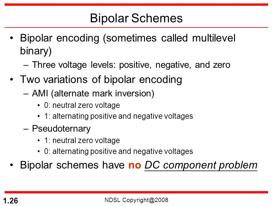 NDSL Copyright@2008 1.26 Bipolar Schemes Bipolar encoding (sometimes called multilevel binary) –Three voltage levels: positive, negative, and zero Two