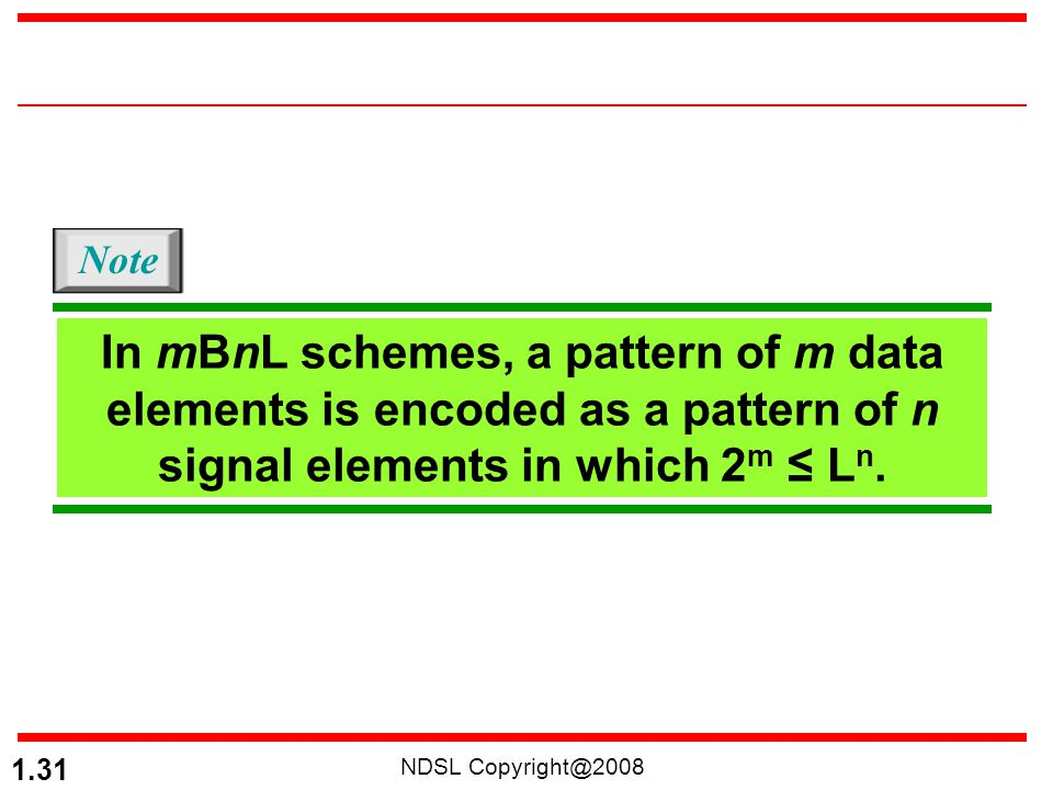 NDSL Copyright@2008 1.31 In mBnL schemes, a pattern of m data elements is encoded as a pattern of n signal elements in which 2 m ≤ L n. Note