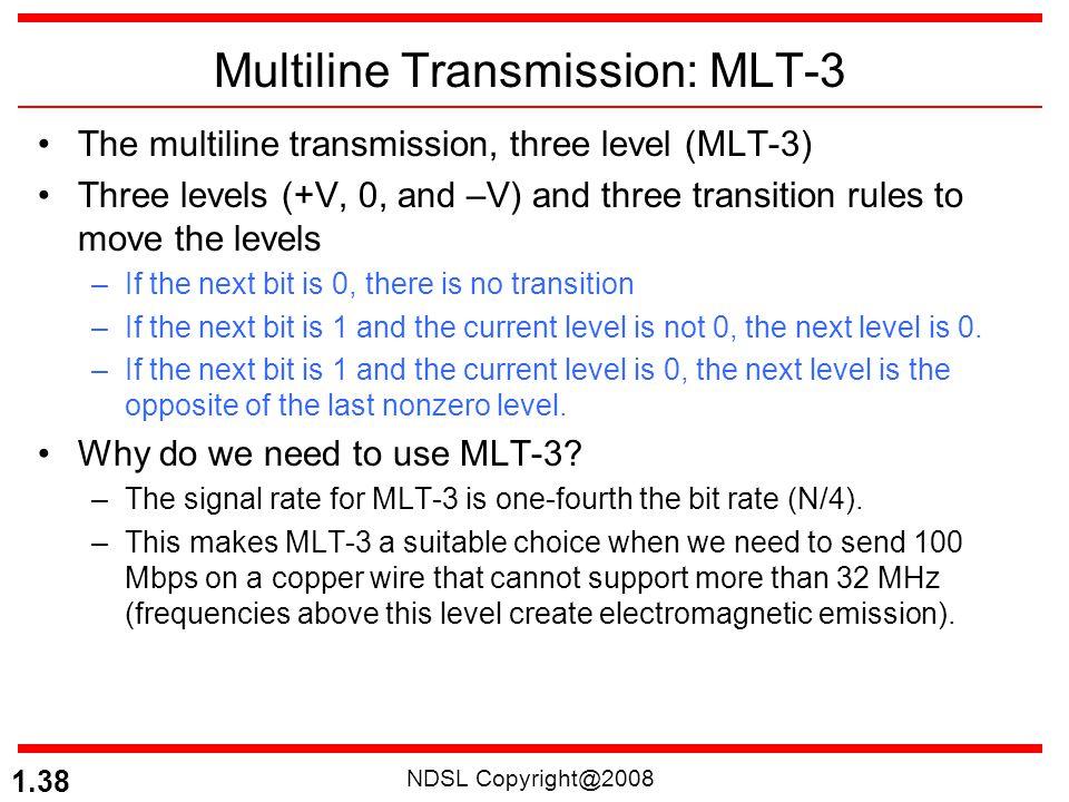 NDSL Copyright@2008 1.38 Multiline Transmission: MLT-3 The multiline transmission, three level (MLT-3) Three levels (+V, 0, and –V) and three transiti