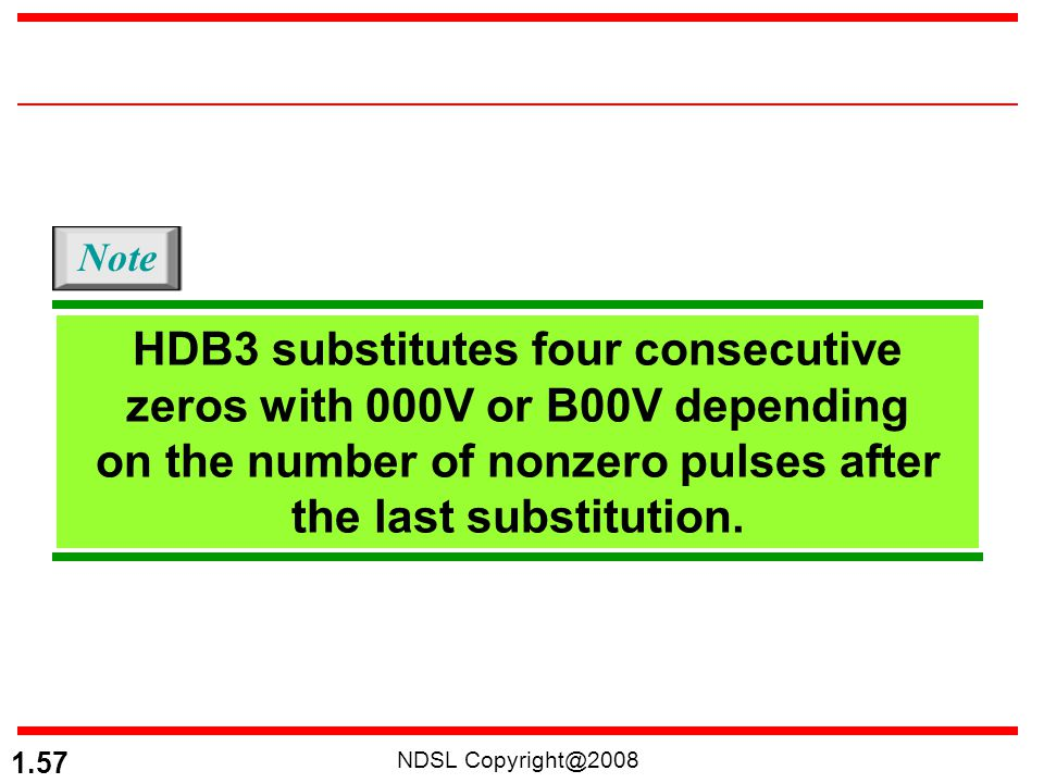 NDSL Copyright@2008 1.57 HDB3 substitutes four consecutive zeros with 000V or B00V depending on the number of nonzero pulses after the last substituti