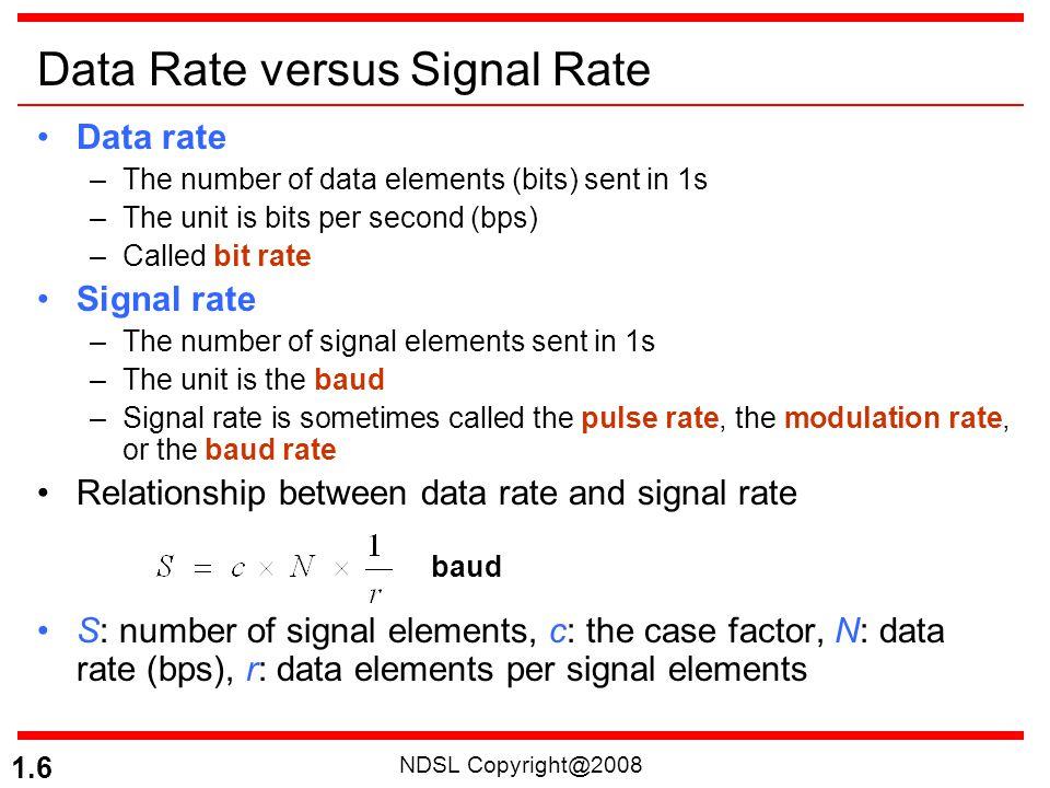 NDSL Copyright@2008 1.17 Figure 4.6 Polar NRZ-L and NRZ-I schemes NRZ-L (NRZ-Level), NRZ-I (NRZ-Invert)