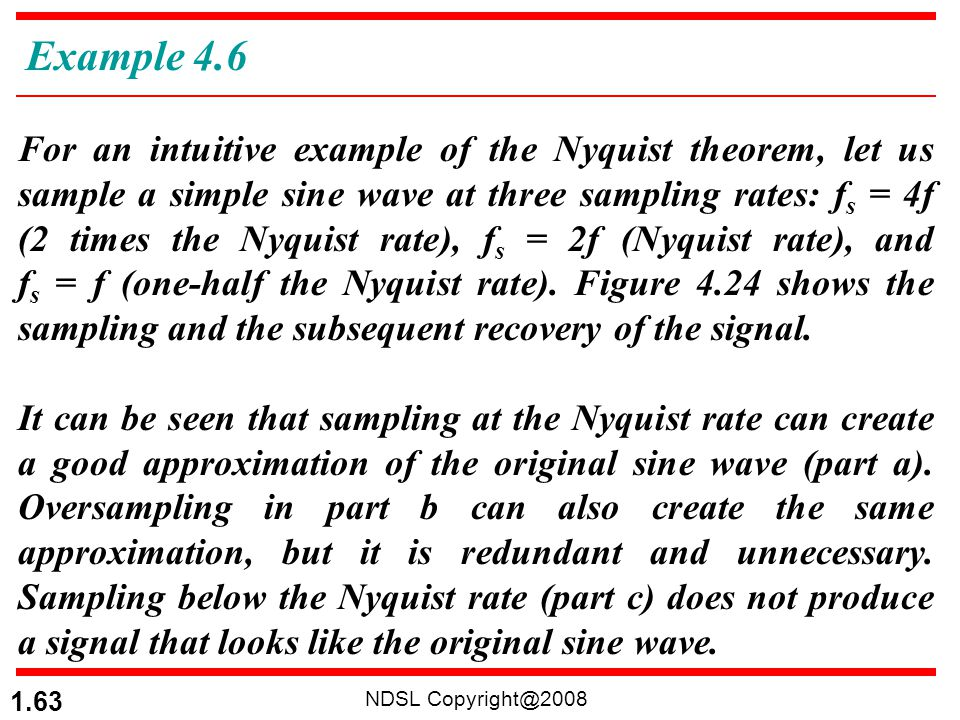 NDSL Copyright@2008 1.63 For an intuitive example of the Nyquist theorem, let us sample a simple sine wave at three sampling rates: f s = 4f (2 times