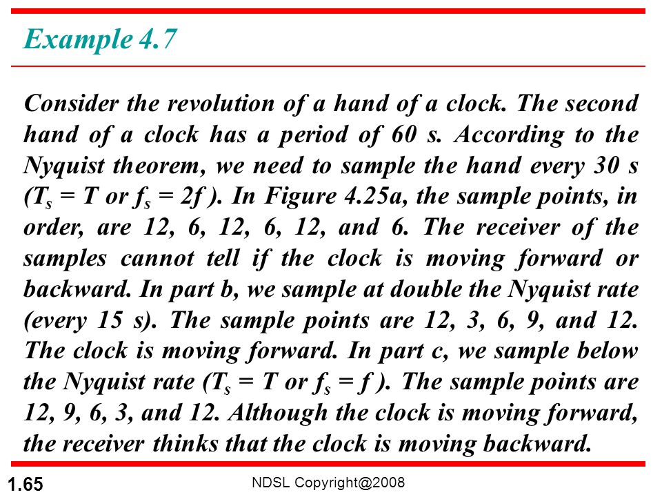 NDSL Copyright@2008 1.65 Consider the revolution of a hand of a clock. The second hand of a clock has a period of 60 s. According to the Nyquist theor