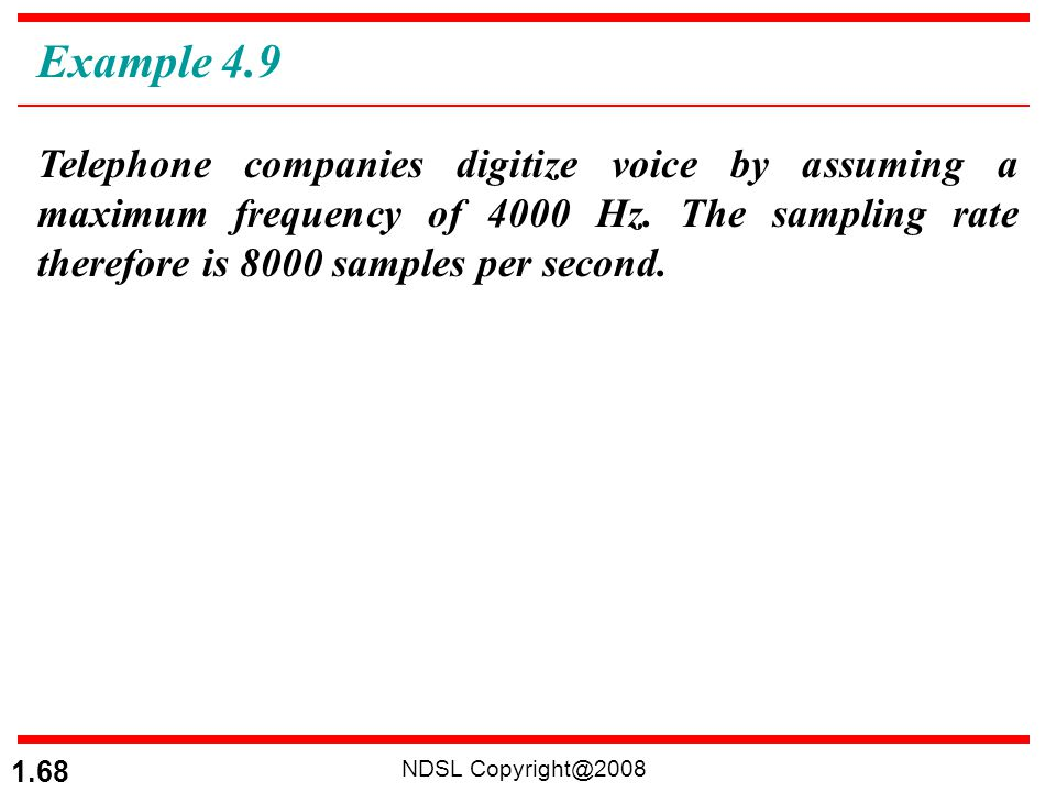 NDSL Copyright@2008 1.68 Telephone companies digitize voice by assuming a maximum frequency of 4000 Hz. The sampling rate therefore is 8000 samples pe