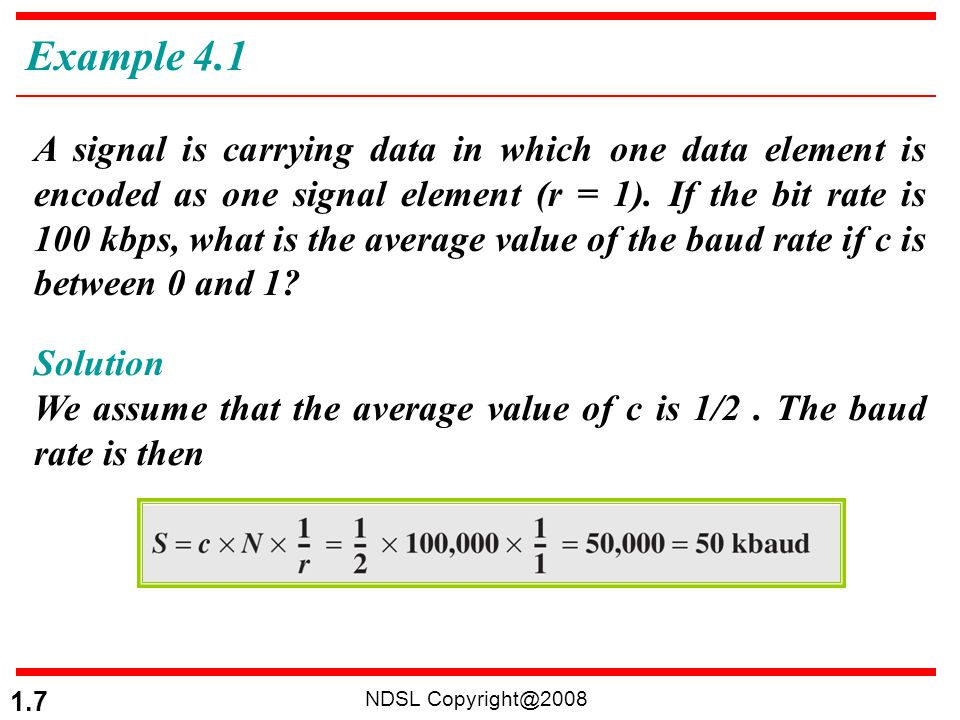 NDSL Copyright@2008 1.78 PCM Bandwidth The minimum bandwidth of the channel that can pass the digitized signal: When 1/r = 1 (for NRZ or bipolar signal) and c = ½