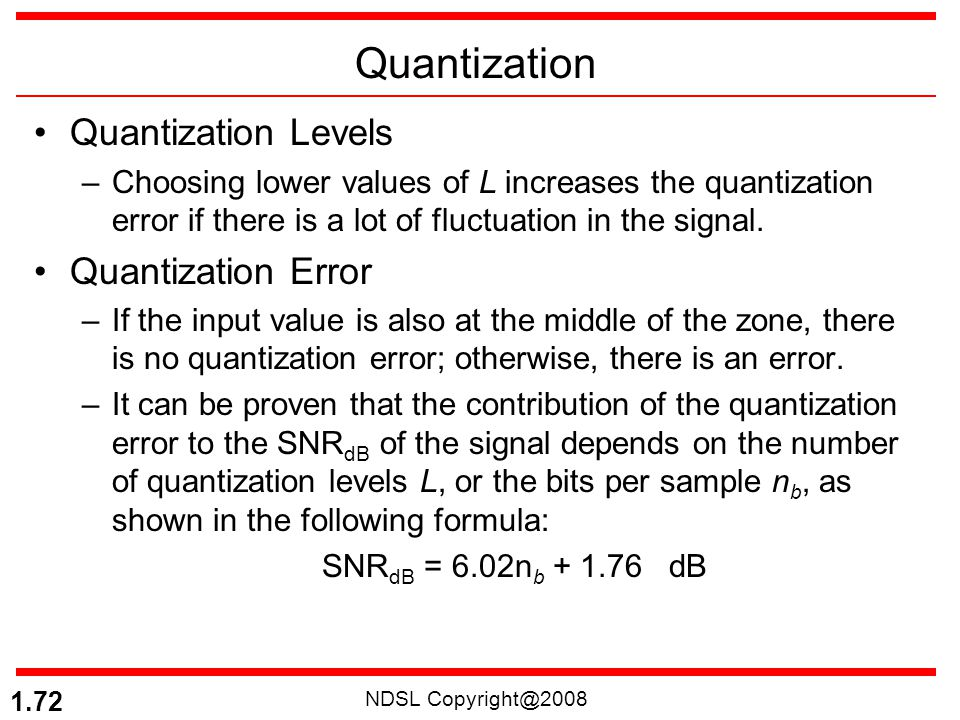 NDSL Copyright@2008 1.72 Quantization Quantization Levels –Choosing lower values of L increases the quantization error if there is a lot of fluctuatio