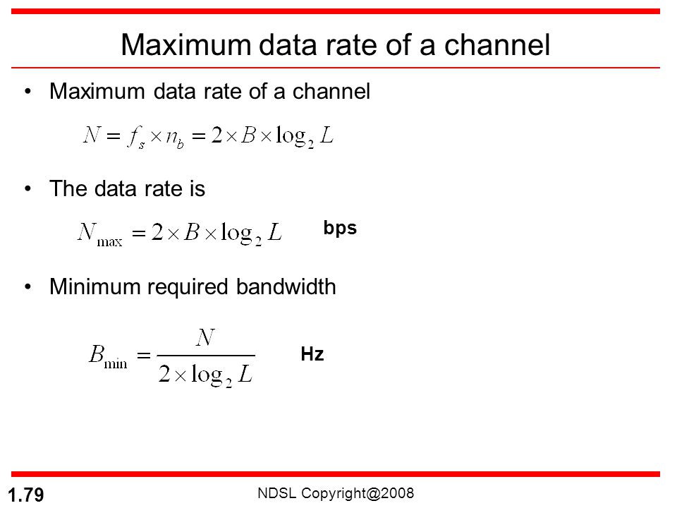 NDSL Copyright@2008 1.79 Maximum data rate of a channel The data rate is Minimum required bandwidth bps Hz