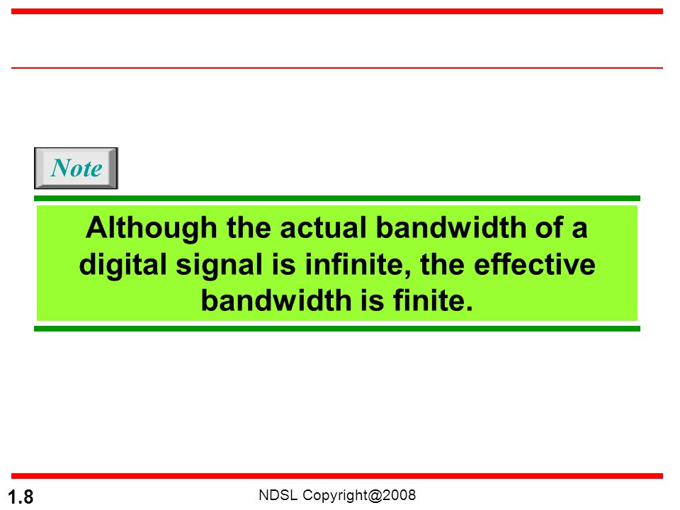 NDSL Copyright@2008 1.19 NRZ-L and NRZ-I both have an average signal rate of N/2 Bd. Note