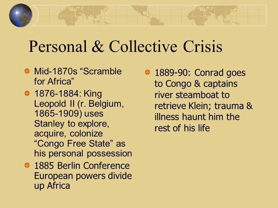 Personal & Collective Crisis Mid-1870s Scramble for Africa 1876-1884: King Leopold II (r.
