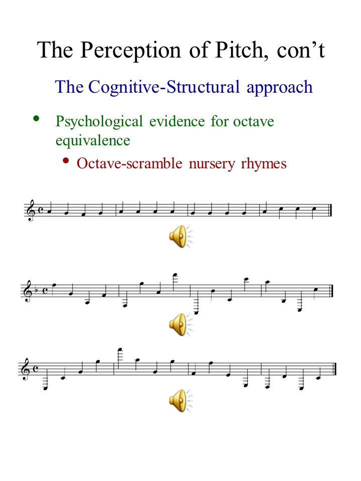 The Perception of Pitch, con't The Cognitive-Structural approach Psychological evidence for octave equivalence Octave-scramble nursery rhymes