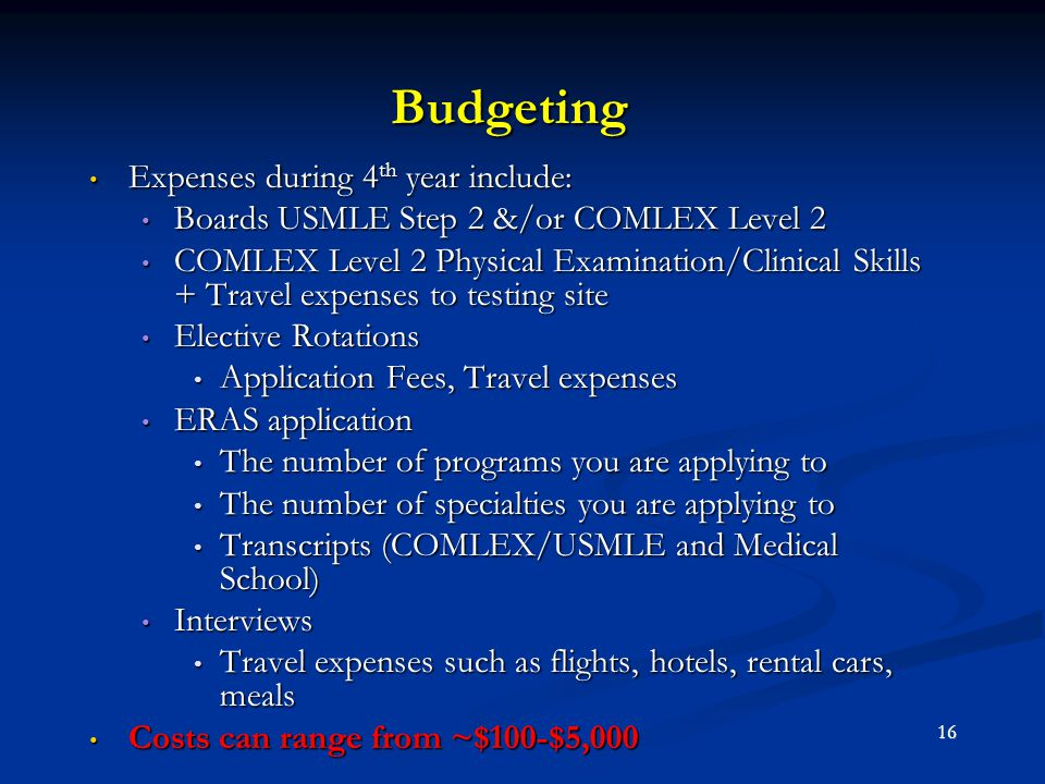 Budgeting Expenses during 4 th year include: Expenses during 4 th year include: Boards USMLE Step 2 &/or COMLEX Level 2 Boards USMLE Step 2 &/or COMLE