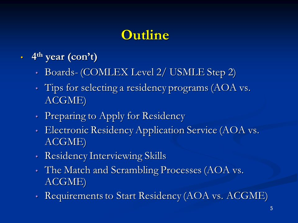 Outline 4 th year (con't) 4 th year (con't) Boards- (COMLEX Level 2/ USMLE Step 2) Boards- (COMLEX Level 2/ USMLE Step 2) Tips for selecting a residen