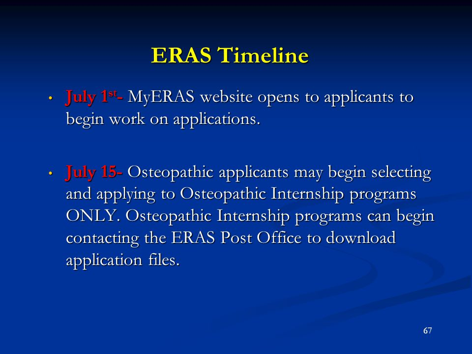 ERAS Timeline July 1 st - MyERAS website opens to applicants to begin work on applications. July 1 st - MyERAS website opens to applicants to begin wo
