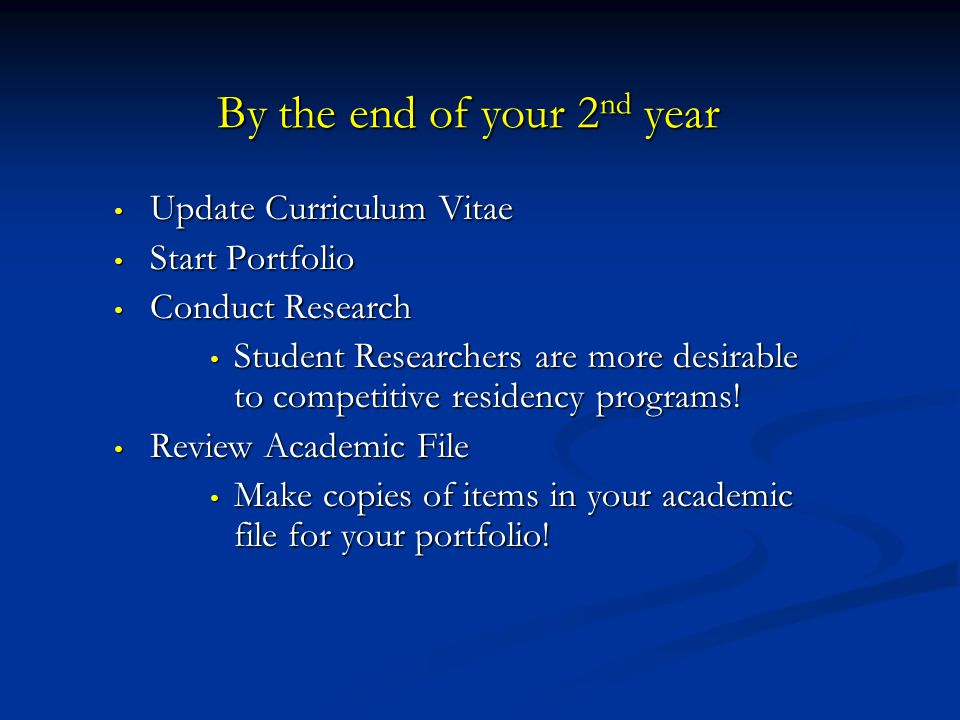 By the end of your 2 nd year Update Curriculum Vitae Update Curriculum Vitae Start Portfolio Start Portfolio Conduct Research Conduct Research Student