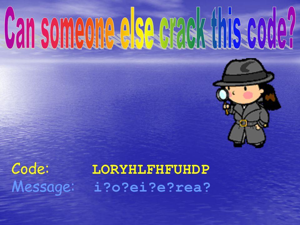 Code: LORYHLFHFUHDP Message: i?o?ei?e?rea?