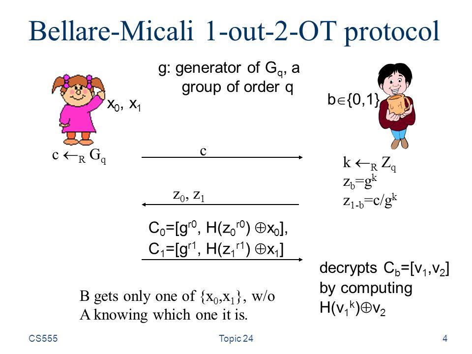 CS555Topic 244 Bellare-Micali 1-out-2-OT protocol c z 0, z 1 C 0 =[g r0, H(z 0 r0 )  x 0 ], C 1 =[g r1, H(z 1 r1 )  x 1 ] x 0, x 1 b  {0,1} k  R