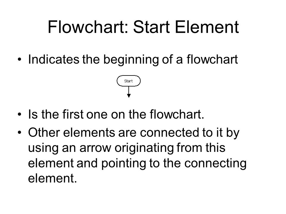 Flowchart: Start Element Indicates the beginning of a flowchart Is the first one on the flowchart.