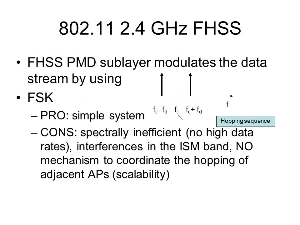 GHz FHSS FHSS PMD sublayer modulates the data stream by using FSK –PRO: simple system –CONS: spectrally inefficient (no high data rates), interferences in the ISM band, NO mechanism to coordinate the hopping of adjacent APs (scalability) f fcfc f c + f d f c - f d Hopping sequence