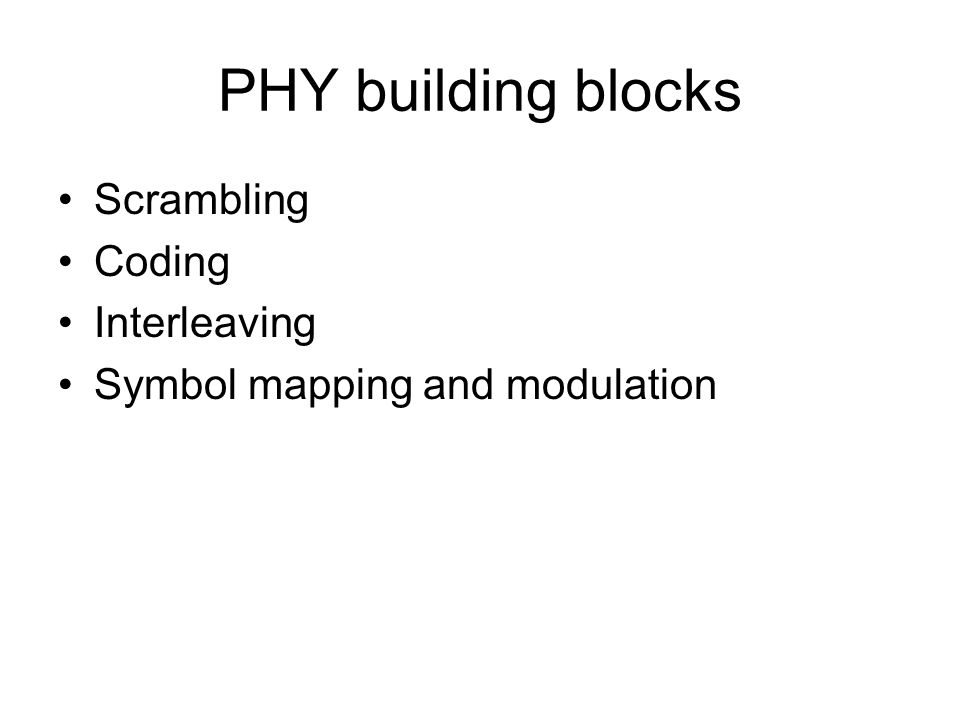 PHY building blocks Scrambling Coding Interleaving Symbol mapping and modulation