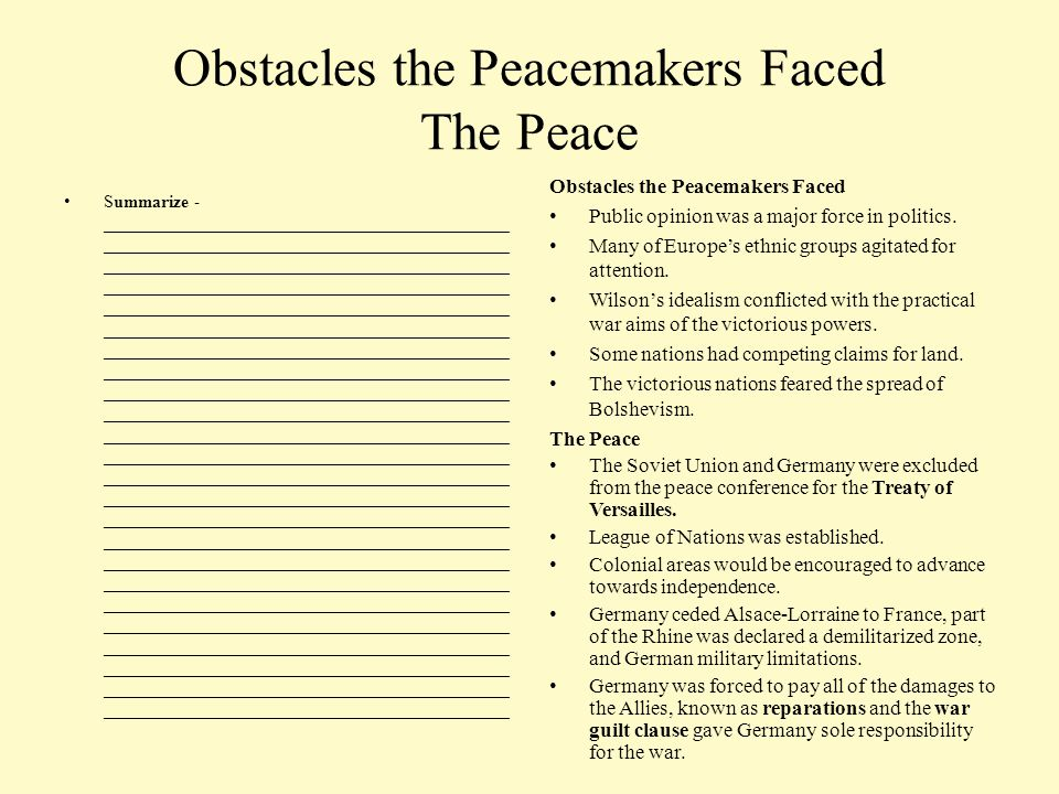 Obstacles the Peacemakers Faced The Peace Summarize - ______________________________________________ ______________________________________________ __