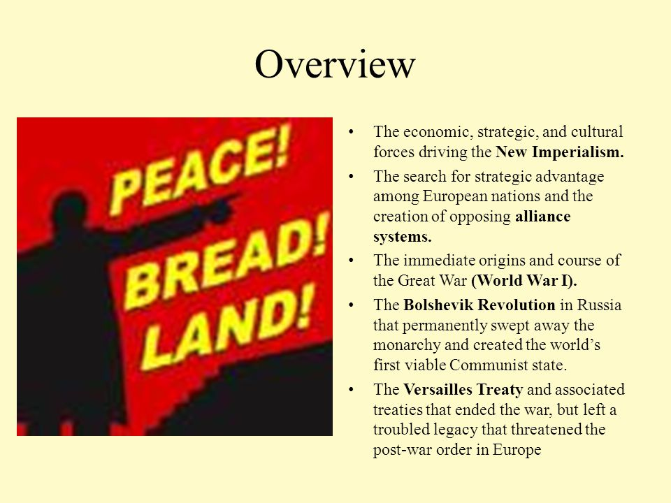 Overview The economic, strategic, and cultural forces driving the New Imperialism. The search for strategic advantage among European nations and the c