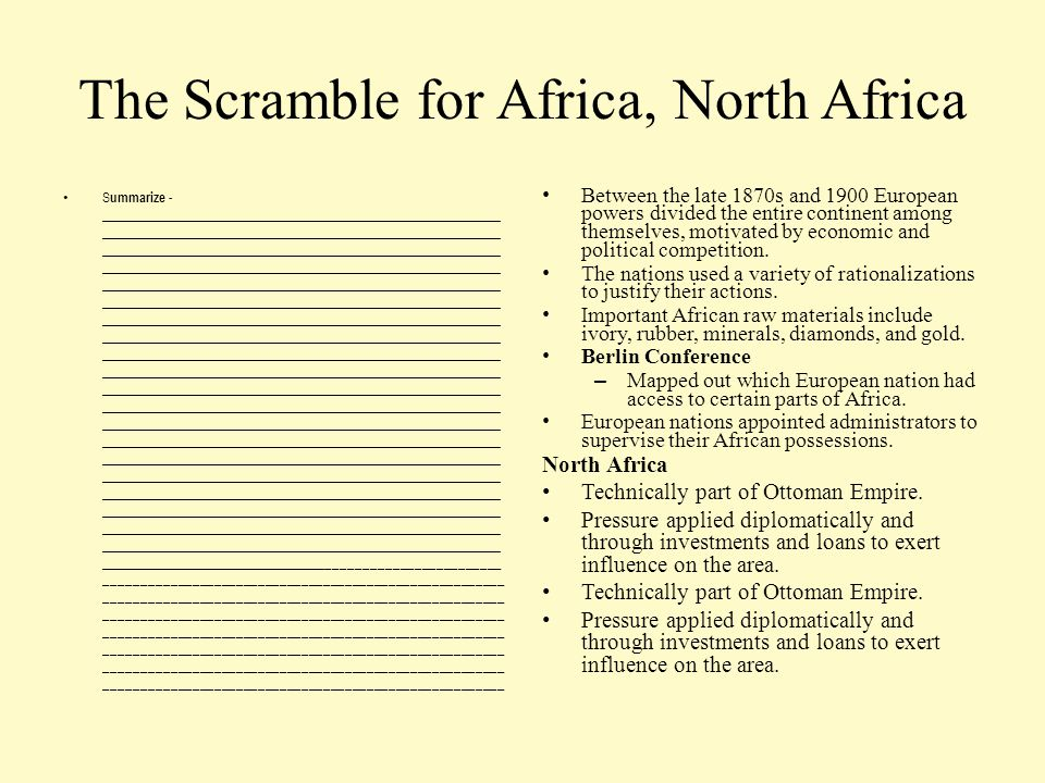 The Scramble for Africa, North Africa S ummarize - _____________________________________________________________ _____________________________________