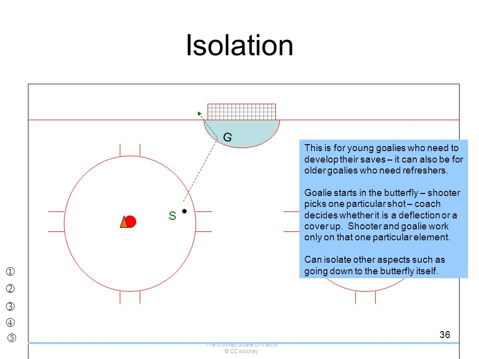 The Wockey Goalie Drill Book © CC wockey 36 Isolation S G This is for young goalies who need to develop their saves – it can also be for older goalies