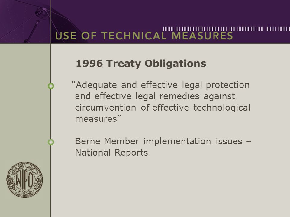 "1996 Treaty Obligations ""Adequate and effective legal protection and effective legal remedies against circumvention of effective technological measure"