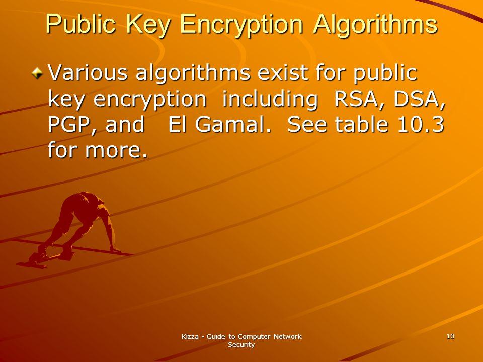 Kizza - Guide to Computer Network Security 10 Public Key Encryption Algorithms Various algorithms exist for public key encryption including RSA, DSA, PGP, and El Gamal.