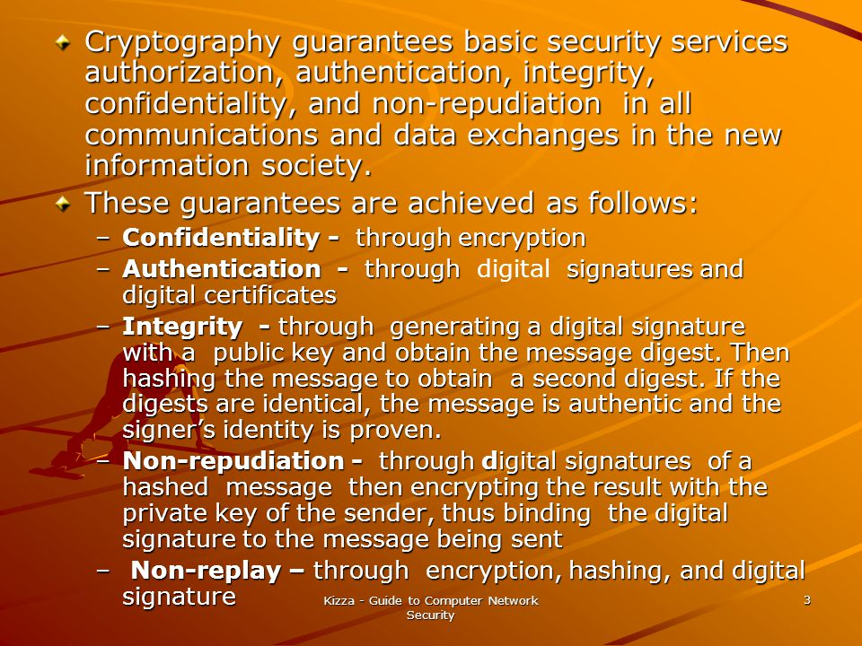 Kizza - Guide to Computer Network Security 3 Cryptography guarantees basic security services authorization, authentication, integrity, confidentiality