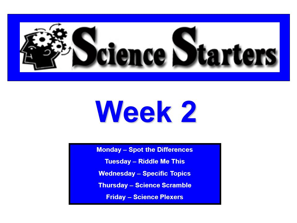 Week 2 Monday – Spot the Differences Tuesday – Riddle Me This Wednesday – Specific Topics Thursday – Science Scramble Friday – Science Plexers