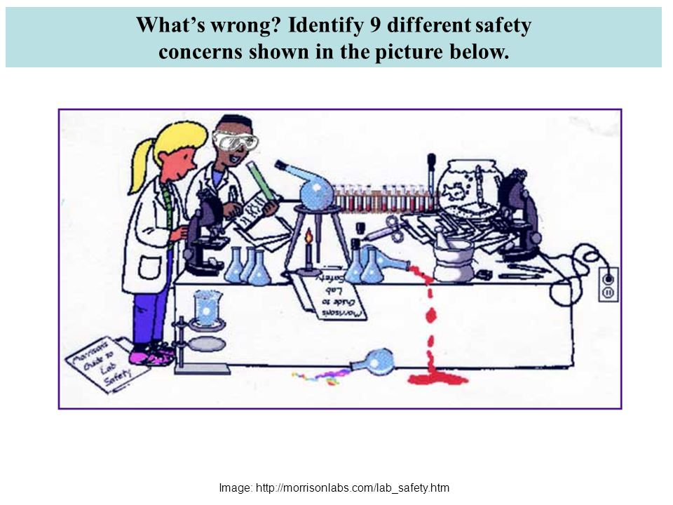What's wrong. Identify 9 different safety concerns shown in the picture below.