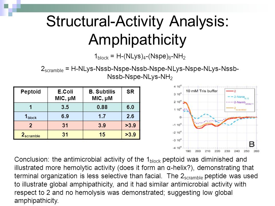Structural-Activity Analysis: Amphipathicity PeptoidE.Coli MIC, μM B. Subtilis MIC, μM SR 13.50.886.0 1 block 6.91.72.6 2313.9>3.9 2 scramble 3115>3.9