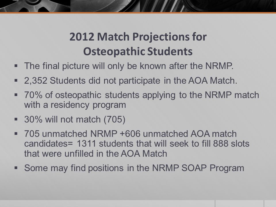 2012 Match Projections for Osteopathic Students  The final picture will only be known after the NRMP.