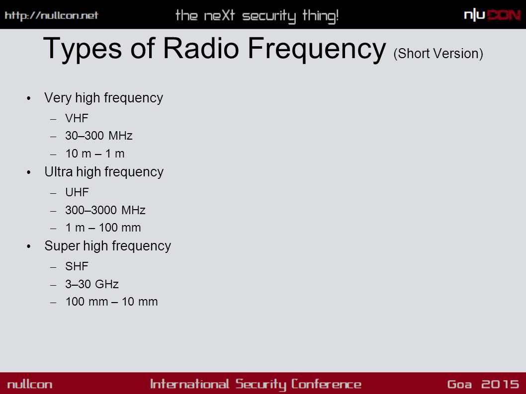 Types of Radio Frequency (Short Version) Very high frequency – VHF – 30–300 MHz – 10 m – 1 m Ultra high frequency – UHF – 300–3000 MHz – 1 m – 100 mm Super high frequency – SHF – 3–30 GHz – 100 mm – 10 mm