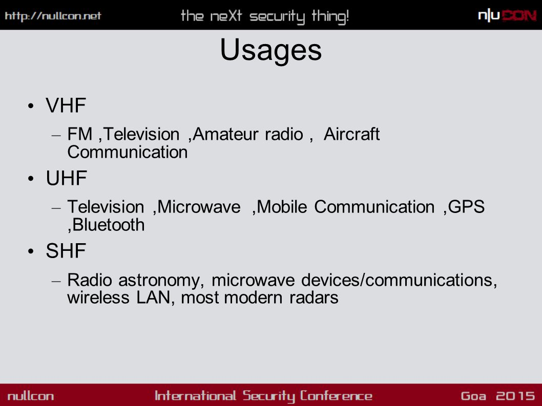 Usages VHF – FM,Television,Amateur radio, Aircraft Communication UHF – Television,Microwave,Mobile Communication,GPS,Bluetooth SHF – Radio astronomy, microwave devices/communications, wireless LAN, most modern radars