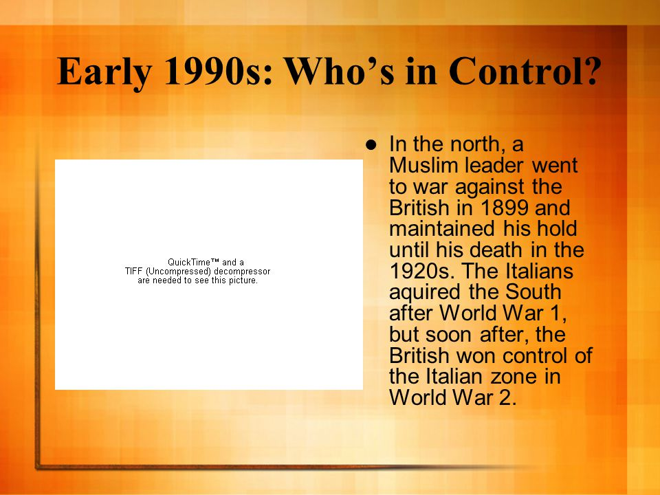 Early 1990s: Who's in Control.