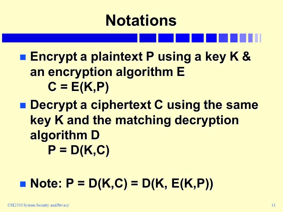 CSE2500 System Security and Privacy13 Notations n Encrypt a plaintext P using a key K & an encryption algorithm E C = E(K,P) n Decrypt a ciphertext C