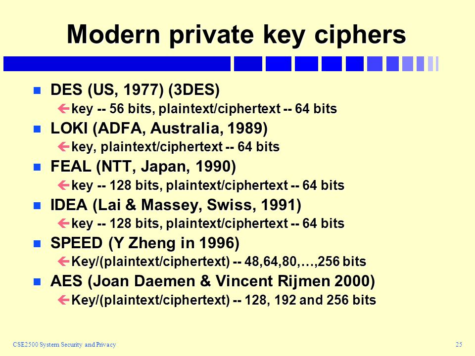 CSE2500 System Security and Privacy25 Modern private key ciphers n DES (US, 1977) (3DES) çkey -- 56 bits, plaintext/ciphertext -- 64 bits n LOKI (ADFA, Australia, 1989) çkey, plaintext/ciphertext -- 64 bits n FEAL (NTT, Japan, 1990) çkey -- 128 bits, plaintext/ciphertext -- 64 bits n IDEA (Lai & Massey, Swiss, 1991) çkey -- 128 bits, plaintext/ciphertext -- 64 bits n SPEED (Y Zheng in 1996) çKey/(plaintext/ciphertext) -- 48,64,80,…,256 bits n AES (Joan Daemen & Vincent Rijmen 2000) çKey/(plaintext/ciphertext) -- 128, 192 and 256 bits