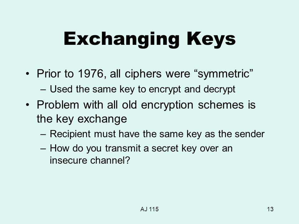 "AJ 11513 Exchanging Keys Prior to 1976, all ciphers were ""symmetric"" –Used the same key to encrypt and decrypt Problem with all old encryption schemes"