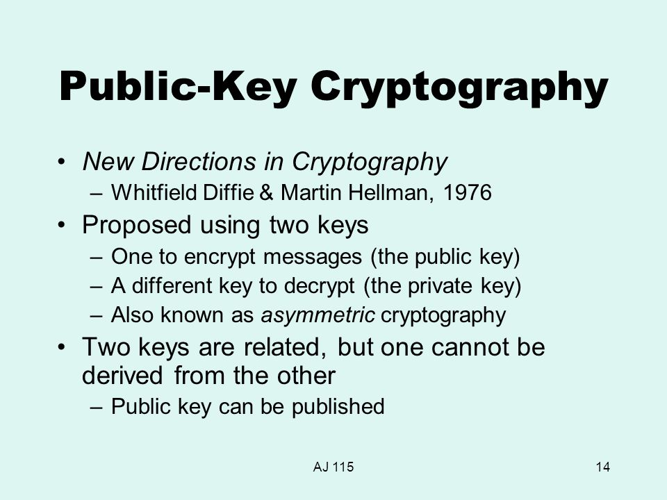 AJ 11514 Public-Key Cryptography New Directions in Cryptography –Whitfield Diffie & Martin Hellman, 1976 Proposed using two keys –One to encrypt messages (the public key) –A different key to decrypt (the private key) –Also known as asymmetric cryptography Two keys are related, but one cannot be derived from the other –Public key can be published