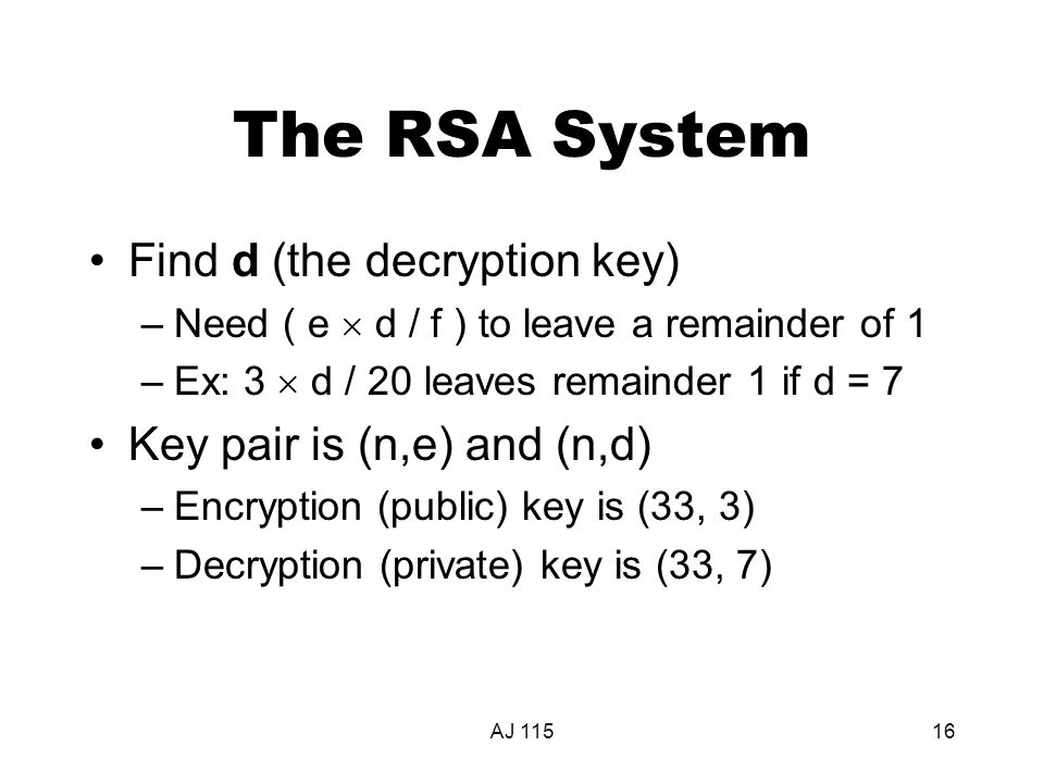 AJ 11516 The RSA System Find d (the decryption key) –Need ( e  d / f ) to leave a remainder of 1 –Ex: 3  d / 20 leaves remainder 1 if d = 7 Key pair