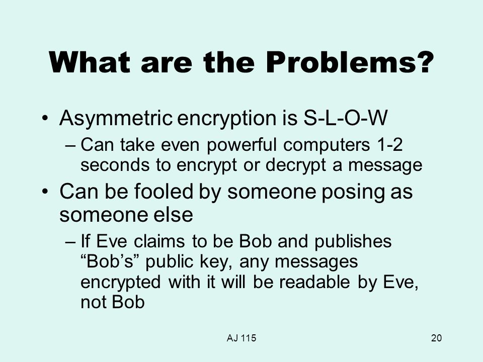 AJ 11520 What are the Problems? Asymmetric encryption is S-L-O-W –Can take even powerful computers 1-2 seconds to encrypt or decrypt a message Can be