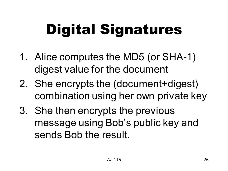 AJ 11526 Digital Signatures 1.Alice computes the MD5 (or SHA-1) digest value for the document 2.She encrypts the (document+digest) combination using h